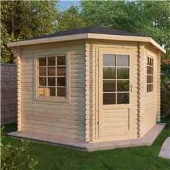 INSTALLED 3m x 3m OHIO Corner Log Cabin (Single Glazing) + Free Floor & Felt & Safety Glass (34mm) - INCLUDES INSTALLATION