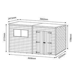 12 x 8 (3.65m x 2.41m) Oxford Pressure Treated Shiplap Pent Shed