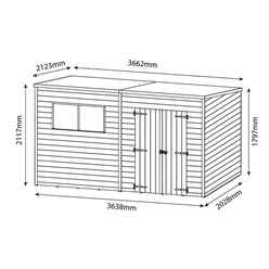 12 x 7 (3.65m x 2.02m) Oxford Pressure Treated Shiplap Pent Shed