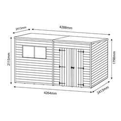 14 x 7 (4.27m x 2.13m) Oxford Pressure Treated Shiplap Pent Shed
