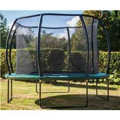 INSTALLED 9ft x 13ft DELUXE Jump Capsule MK II Trampoline with Enclosure Package + FREE Ladder