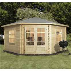 4m x 4m OHIO Corner Log Cabin (Single Glazing) with Large Windows + Free Floor & Felt & Safety Glass (28mm)