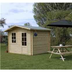 3m x 2.4m BLOSSOM Log Cabin (Single Glazing) + Free Floor & Felt & Safety Glass (28mm)