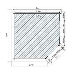 4m x 4m OHIO Corner Log Cabin (Single Glazing) with Large Windows + Free Floor & Felt & Safety Glass (34mm)