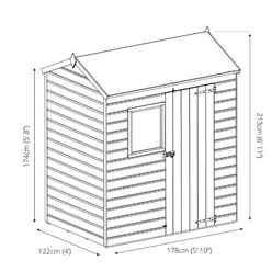 6 x 4 (1.8m x 1.3m) Pressure Treated Tongue and Groove Reverse Apex Shed