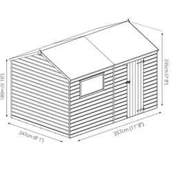 10 x 8 (3.0m x 2.4m) Pressure Treated Tongue and Groove Reverse Apex Shed