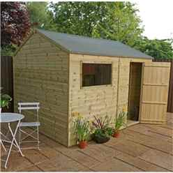 INSTALLED 10 x 8 (3.0m x 2.4m) Pressure Treated Tongue and Groove Reverse Apex Shed - INCLUDES INSTALLATIO