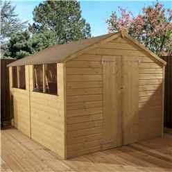 INSTALLED 10 x 8 (3.00m x 2.36m) Pressure Treated Tongue and Groove Apex Shed - INCLUDES INSTALLATION