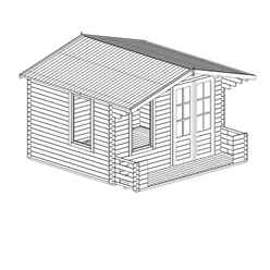 3.29m x 3.78m Vicky Log Cabin Including Verandah (2' 7