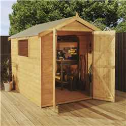 8ft x 6ft  (2.4m x 1.8m) Premier Tongue & Groove Apex Shed With Double Doors + 1 Window (12mm T&G Floor)