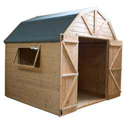 8ft x 8ft (2.4m x 2.4m) Deluxe Tongue & Groove Dutch Barn With Double Doors + 1 Window (12mm T&G Floor & Roof)