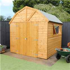 INSTALLED 8ft x 8ft (2.4m x 2.4m) Deluxe Tongue & Groove Dutch Barn With Double Doors + 1 Window (12mm T&G Floor & Roof) - INCLUDES INSTALLATION