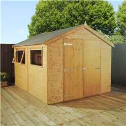 INSTALLED 10ft x 6ft (3.1m x 2.0m) Premier Tongue & Groove Apex Shed with Double Doors + 2 Windows (12mm T&G Floor) - INCLUDES INSTALLATION