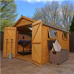 12ft x 8ft (3.81m x 2.63m) Deluxe Workshop With Double Doors + 2 Windows (12mm T&G Floor & Roof)