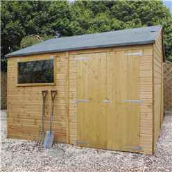 INSTALLED 10ft x 12ft (3.2m x 3.7m) Premium Reverse Apex Workshop With Double Doors and 1 Opening Window (12mm Tongue and Groove Floor and Roof) INCLUDES INSTALLATION