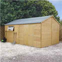 INSTALLED 10ft x 16ft (3.2m x 4.8m) Premium Reverse Apex Workshop With Double Doors and 1 Opening Window (12mm Tongue and Groove Floor and Roof) INCLUDES INSTALLATION