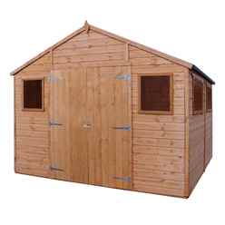 INSTALLED 10ft x 10ft (3.1m x 3.1m) Deluxe Tongue & Groove Workshop with Double Doors + 4 Windows (12mm T&G Floor) - INCLUDES INSTALLATION