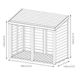 3 x 6 (1m x 1.9m) Pressure Treated Overlap Double Storage Unit (3'3 x 6'2)