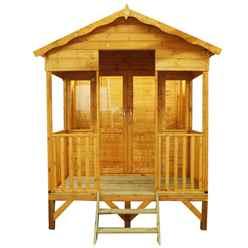 INSTALLED 8ft x 10ft (2.36m x 3.28m) Beach Hut Summerhouse (12mm T&G Floor & Roof) INCLUDES INSTALLATION