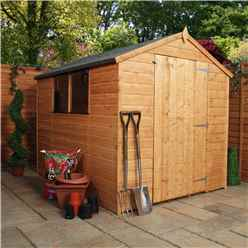 8ft x 6ft (2.41m x 1.90m) Tongue & Groove Apex Shed With Large Door + 2 Windows (solid 10mm OSB Floor)