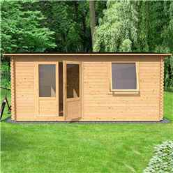 4m x 3m Vermon (Single Glazing) + Free Floor & Felt & Safety Glass (34mm Tongue and Groove Logs)