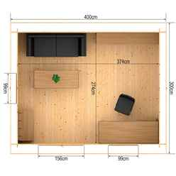 4m x 3m Vermon (Single Glazing) + Free Floor & Felt & Safety Glass (44mm Tongue and Groove Logs)