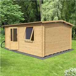4m x 3m Vermon (Single Glazing) + Free Floor & Felt & Safety Glass (28mm Tongue and Groove Logs)
