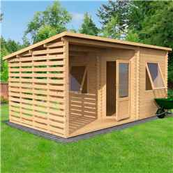 *DISCO 2/1/19* 5m x 3m Corner Cabin with Side Area - Double Glazing (28mm Tongue and Groove Logs)