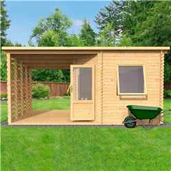 5m x 3m Corner Cabin with Side Cabin - Double Glazing (34mm Tongue and Groove Logs)