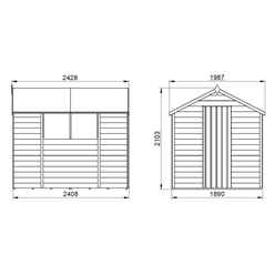 8ft x 6ft (2.4m x 1.9m) Single Door Overlap Apex Wooden Garden Shed + 2 Windows