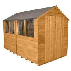 10ft x 8ft Double Door Overlap Apex Wooden Garden Shed + 4 Windows (3.1m x 2.6m)