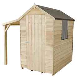 6ft x 4ft Pressure Treated Overlap Apex Shed with Lean To (2.07m x 1.83m)