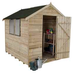 8ft x 6ft (2.4m x 1.9m) Overlap Apex Wooden Garden Shed With Single Door and 2 Windows - Onduline Roof