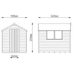 INSTALLED 8ft x 6ft (2.4m x 1.9m) Overlap Apex Wooden Garden Shed With Single Door and 2 Windows - Onduline Roof - INSTALLATION INCLUDED