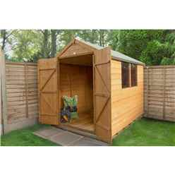 INSTALLED 8ft x 6ft Shiplap Dip Treated Apex Shed with Double Doors (2.4m x 1.8m) - INCLUDES INSTALLATION