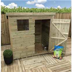6FT x 5FT Pressure Treated Tongue & Groove Pent Shed + 1 Window + Single Door