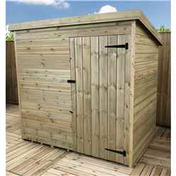 6FT x 5FT Windowless Pressure Treated Tongue & Groove Pent Shed + Single Door