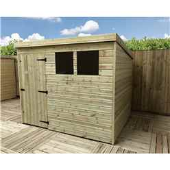8FT x 3FT Pressure Treated Tongue & Groove Pent Shed + 2 Windows + Single Door + Safety Toughened Glass