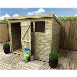 8FT x 7FT Pressure Treated Tongue & Groove Pent Shed + 2 Windows + Single Door