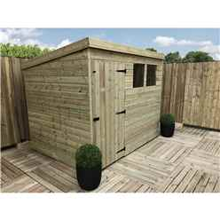 8FT x 7FT Pressure Treated Tongue & Groove Pent Shed + 2 Windows + Single Door + Safety Toughened Glass
