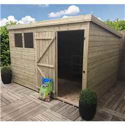 10FT x 6FT Pressure Treated Tongue & Groove Pent Shed + 3 Windows + Single Door