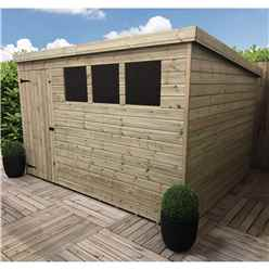 10FT x 7FT Pressure Treated Tongue & Groove Pent Shed + 3 Windows + Single Door