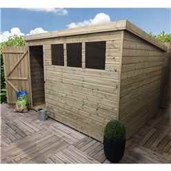 10FT x 8FT Pressure Treated Tongue & Groove Pent Shed With 3 Windows + Single Door + Safety Toughened Glass