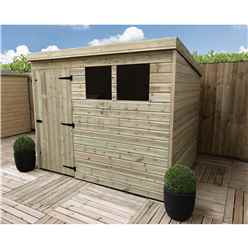 10FT x 3FT Pressure Treated Tongue & Groove Pent Shed + 2 Windows + Single Door + Safety Toughened Glass