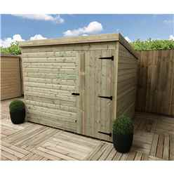 8FT x 7FT Windowless Pressure Treated Tongue & Groove Pent Shed + Single Door
