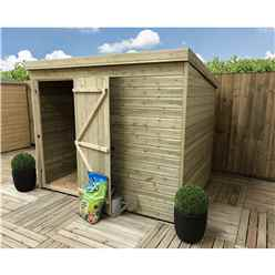 7FT x 6FT Windowless Pressure Treated Tongue & Groove Pent Shed + Single Door