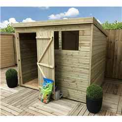 7FT x 4FT Pressure Treated Tongue & Groove Pent Shed + 2 Windows + Single Door