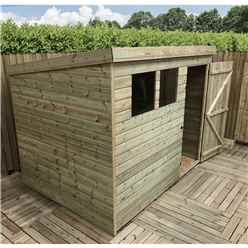7FT x 5FT Pressure Treated Tongue & Groove Pent Shed With 2 Windows + Single Door + Safety Toughened Glass