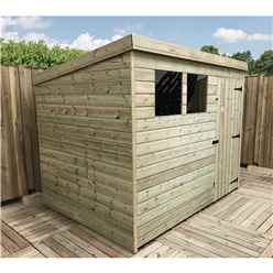 7FT x 6FT Pressure Treated Tongue & Groove Pent Shed With 2 Windows + Single Door + Safety Toughened Glass