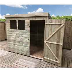 7FT x 6FT Pressure Treated Tongue & Groove Pent Shed + 2 Windows + Single Door